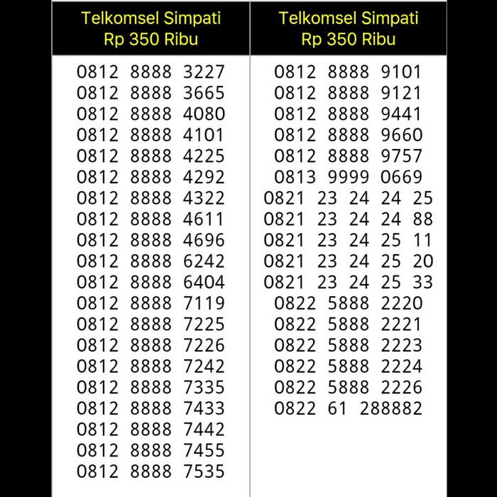 NOMOR CANTIK SIMPATI SERI KWARTET 8888 0812 8888 9101 B10 334