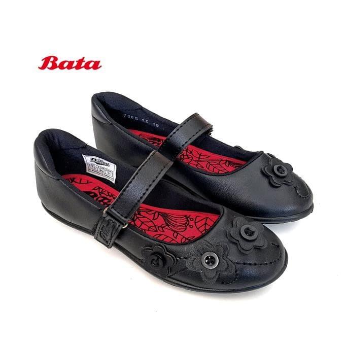 Bata B.First 6116 Sepatu Sekolah Anak Perempuan - Hitam Gesper Bunga