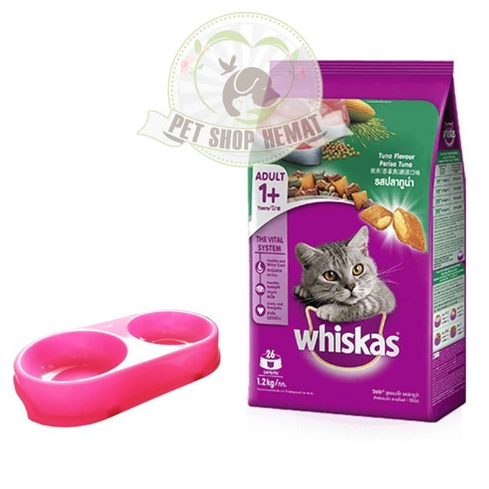 Paket Hemat Makanan Kucing Whiskas Tuna 1,2 Kg - Tempat Makan
