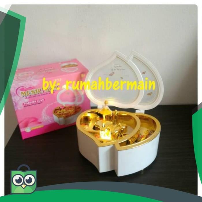 [HOT DEAL] Kotak Musik Bentuk Love Putih Ballerina Lampu Music Box