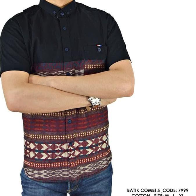 Jual Promo.. !! Kemeja Batik Songket Kombinasi Polos Hitam Cowok ... ca68597057