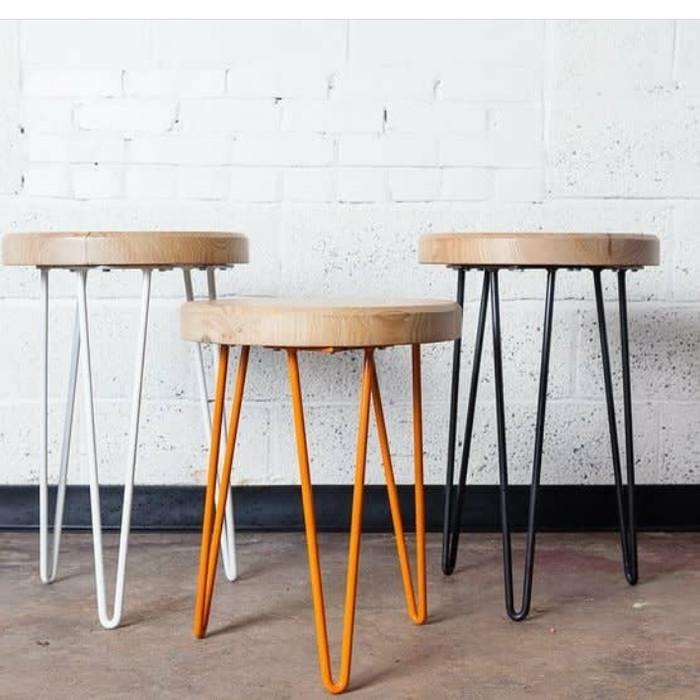 Jual Stool Bar Bulat Kursi Cafe Mix Besi Kab Jepara Solid Wood Tokopedia