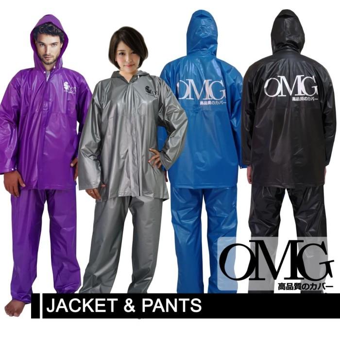 Foto Produk Jas Hujan OMG Set Jaket & Celana 100% Waterproof seperti GMA ASV Axio - Biru dari lbagstore