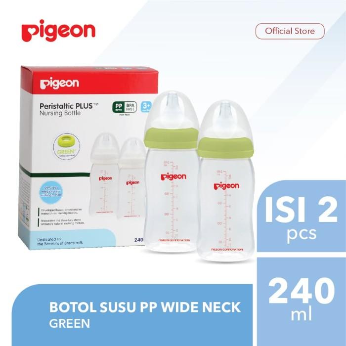 harga Pigeon botol susu pp wide neck 240ml isi 2 pcs - green Tokopedia.com