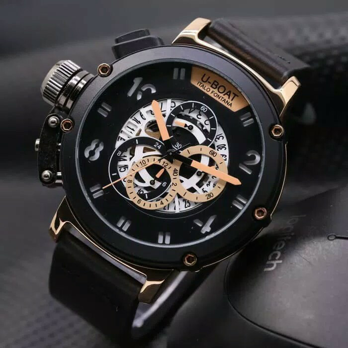 Jam Tangan Pria Cowok U-Boat Big Leather Full Black Rose Gold