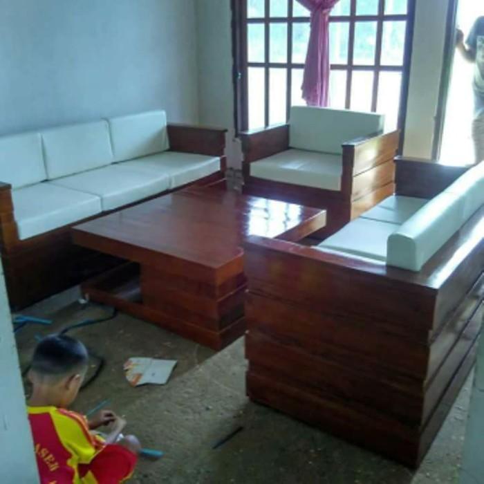 Jual Kursi Tamu Box Jati Jepara Minimalis Set Sofa Ruang Tamu Kab