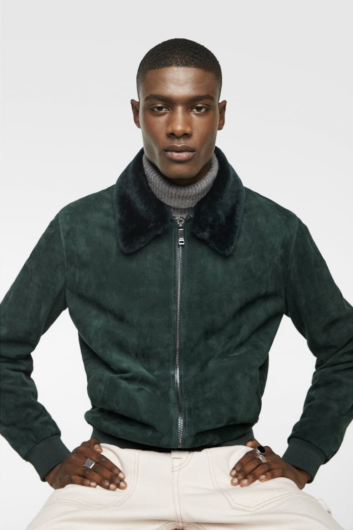 2af0750e Jual Zara - SUEDE JACKET WITH CONTRASTING COLLAR - Green - - albax ...