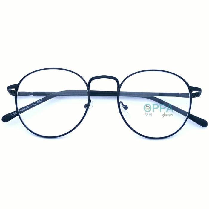 Frame Kacamata Korea Pria Wanita OPPA OP07 FBL Hitam Bulat Fashion 7de8b88e22