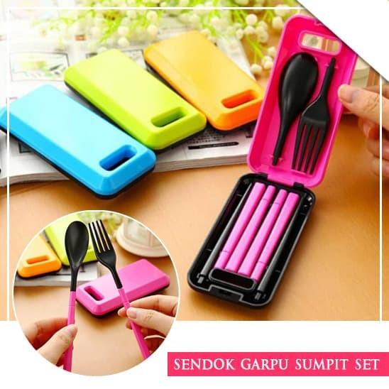 Sendok Garpu Sumpit Portable Lipat Travel / Wisata Warna Warni (FN20)
