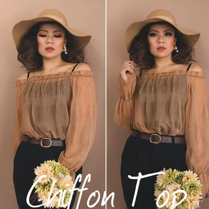 Chiffon Top brown | baju sabrina import | blouse coklat | blouse impor