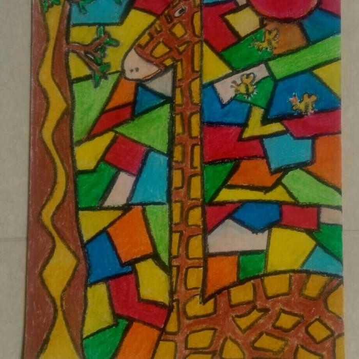 Jual Lukisan Tangan Jerapah Kota Yogyakarta Naga Biru