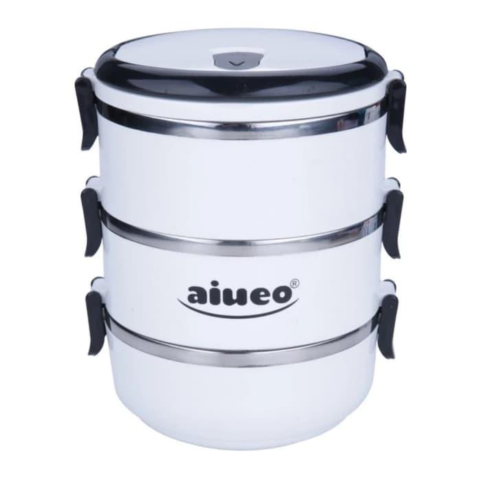 AIUEO Eco Lunch Box Stainless Steel Rantang 3 Susun Glossy