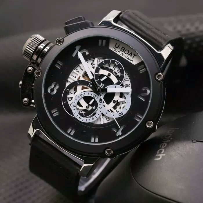 Jam Tangan Pria Cowok U-Boat Big Leather Full Black Silver