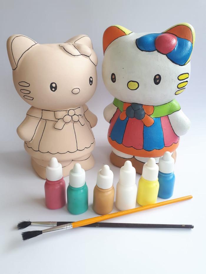 Jual Mainan Edukatif Mewarnai Celengan Keramik Hello Kitty Kab