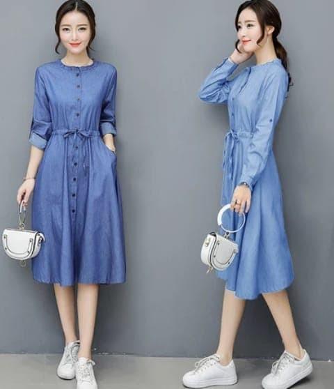 [dress wiwin ro] dress wanita denim biru