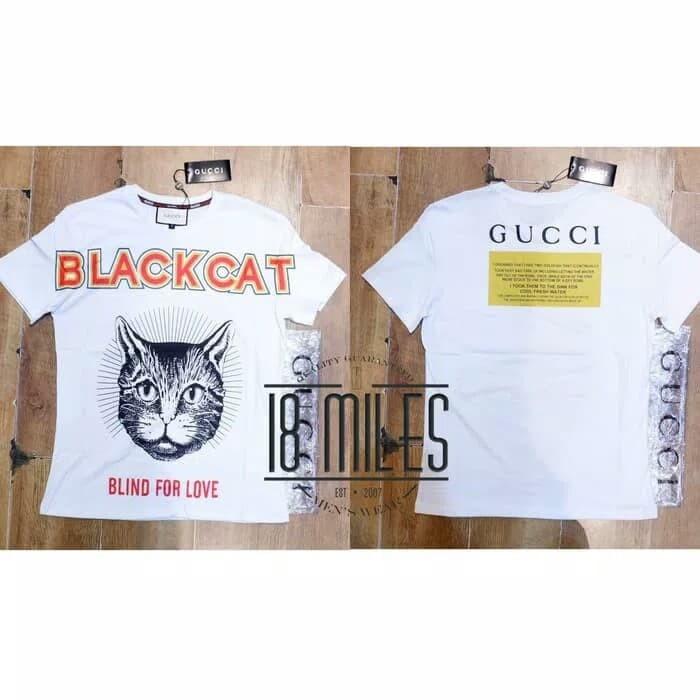 7601f05d66e Jual Kaos Oblong Gucci Black Cat Blind For Love Unisex Import 2 ...