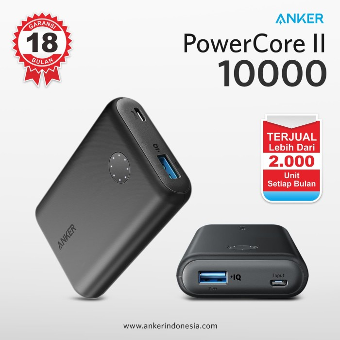 Quick charge 3.0 anker powerbank powercore ii 10000mah hitam