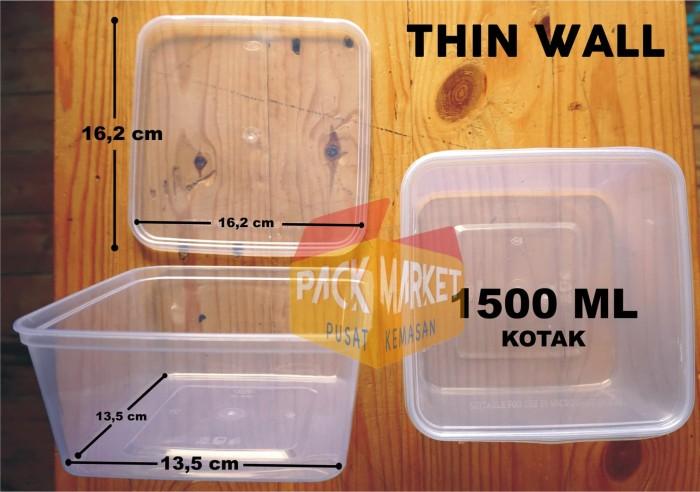Jual Kotak Makan Plastik 1500ml Thin Wall Tebal Bento Box Kemasan