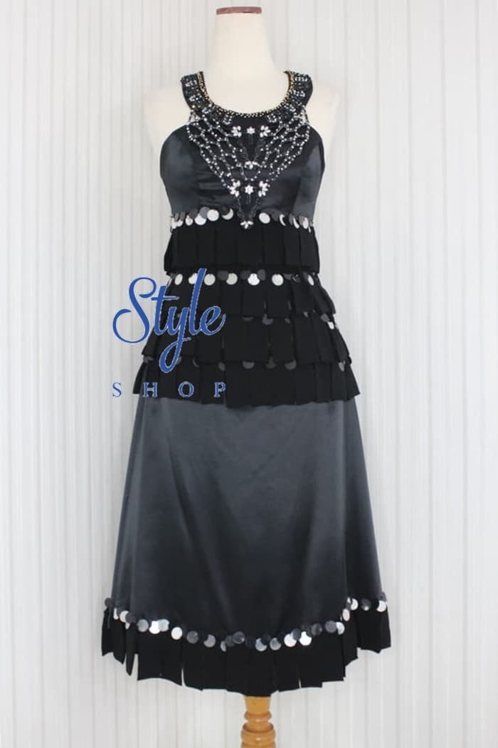 Jual Gaun Pesta Midi Dress Halter Neck Warna Hitam Kode 10500