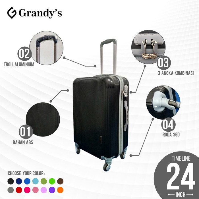 Koper Hardcase Roda 4 Travel murah 24 inch Tas koper murah - Hitam - Ungu