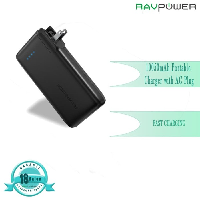 harga Fs ravpower 10050mah portable charger with ac plug - black [rp-pb066] Tokopedia.com