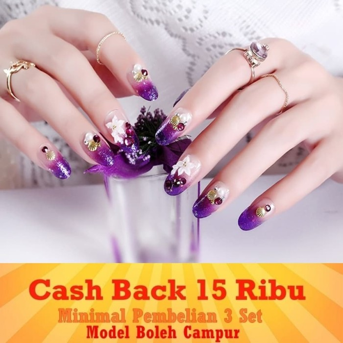 JBS Nails A126 Kuku Palsu 3D Nikah Wedding False Fake Nails Nailart