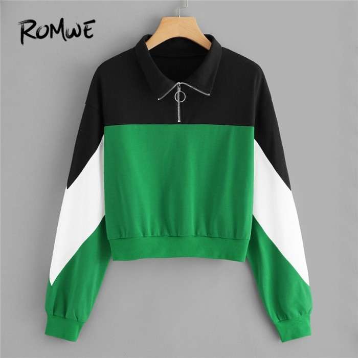 ROMWE Black And Green Color Block Zip Sweatshirt Women Casual Autumn L