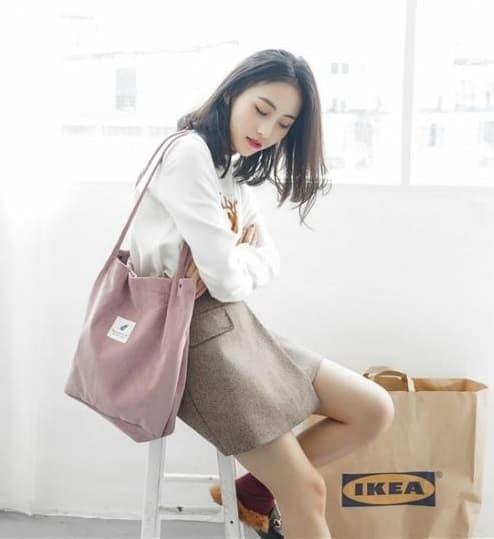 Foto Produk TC26 Korea Corduroy Tote Bag / Tas Selempang - green dari EnnWen Online Store