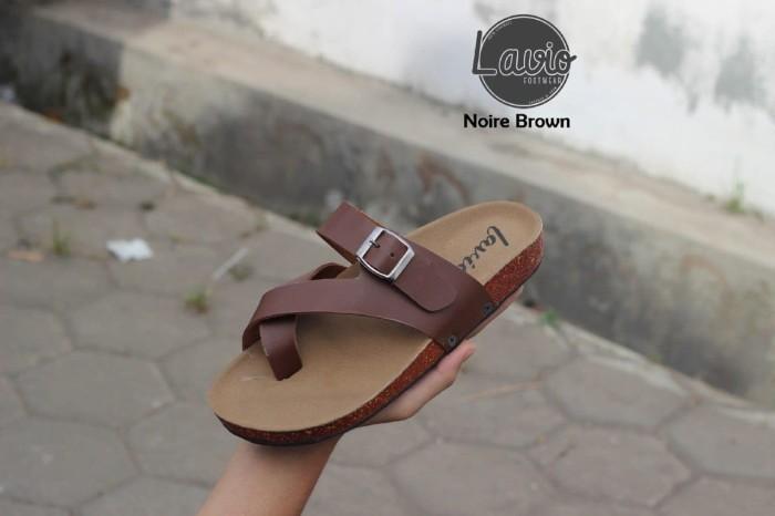 sandal / sendal fashion pria handmade model brikenstock / Ori - Cokelat, 42