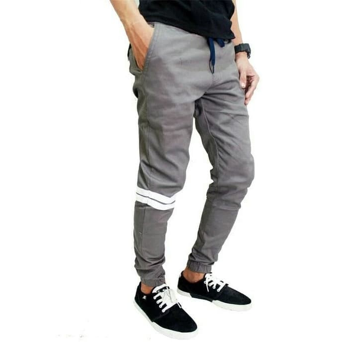 cuci gudang Celana jogger pants strip naruto warna abu size 33-38