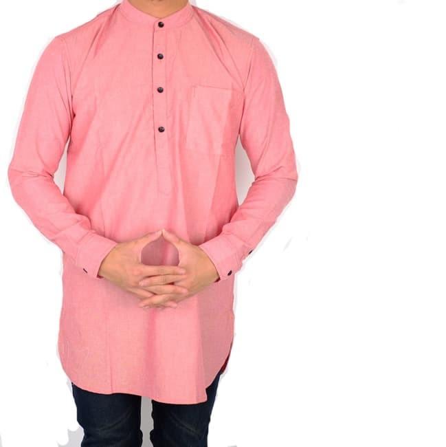 Baju koko / kemeja koko / koko pakistan / kemeja koko pakistan - merah muda xl