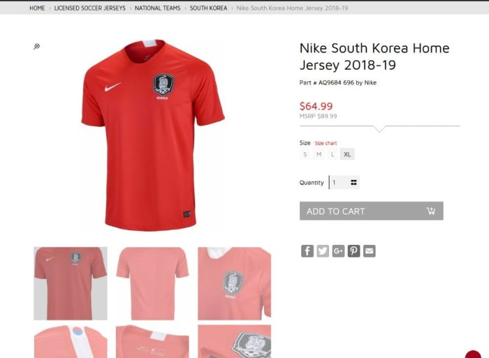 65b18c758a5 baju jersey sepak bola korea selatan 2019 original made in Indonesia