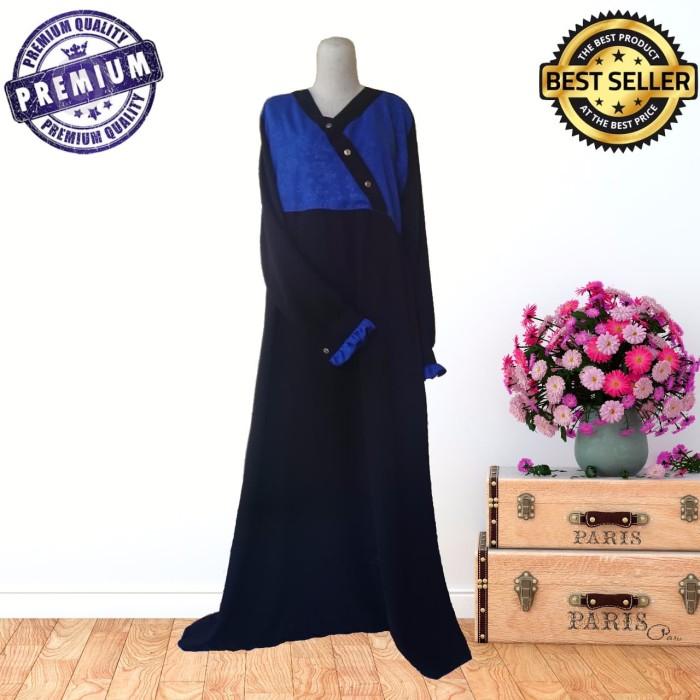 Foto Produk jubah syari jetblack black honey blue emboss sahabat hijrah dari kios ummi online