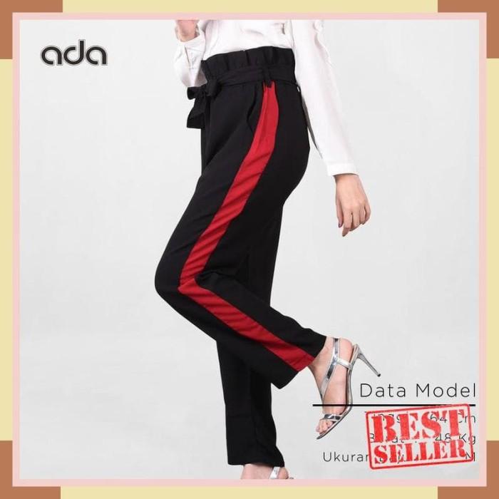 Ada Fashion Celana Kulot Panjang Wanita Warna Hitam Garis Merah