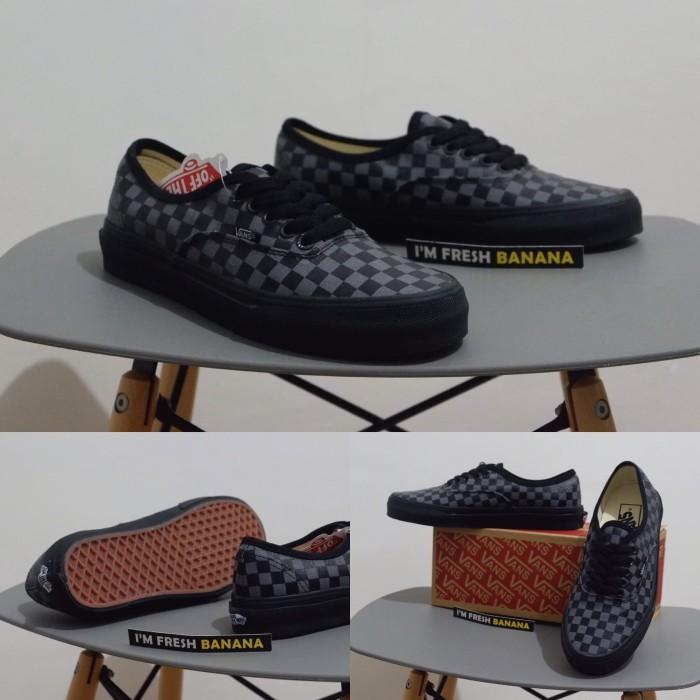 Jual Sepatu Vans Authentic Chekerboard Catur ICC Premium Full Black ... 698de39679