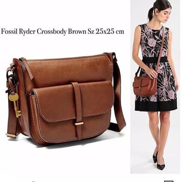 d4453832e Jual tas Fossil Ryder Crossbody Brown leather original - Jakarta ...