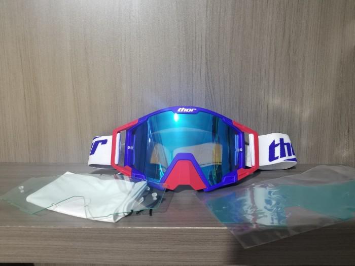 harga Goggle trail cross mtb dh thor merah biru helm jersey tld motocross Tokopedia.com