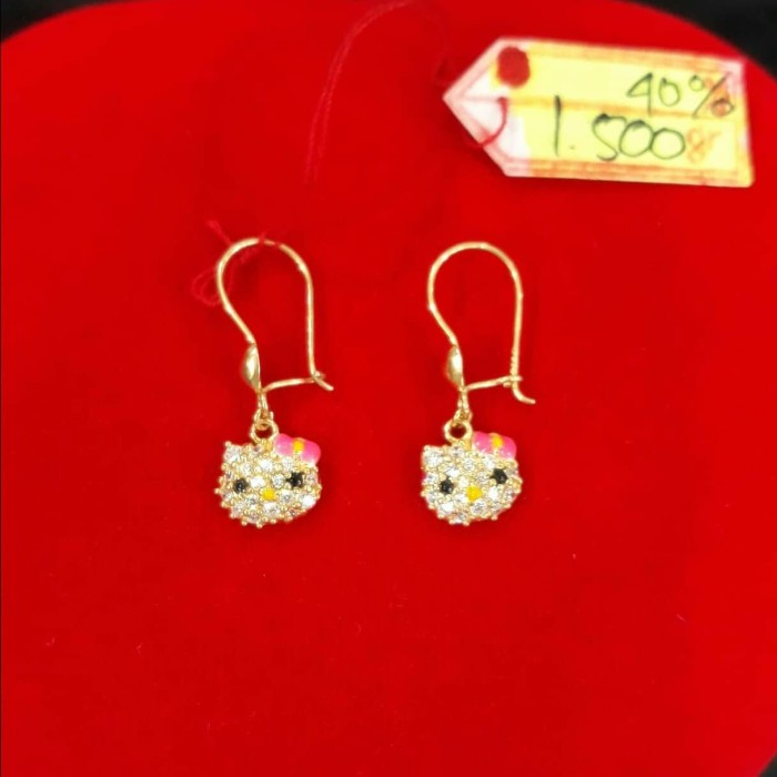 AT126DLMDLM ANTING PERMATA HELLO KITTY EMAS FASHION WANITA GOLD NEW