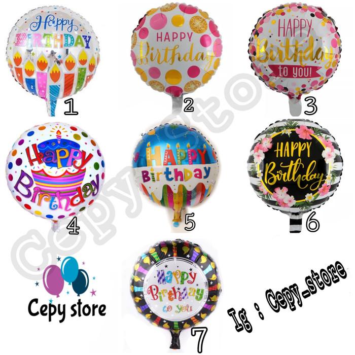 Foto Produk Balon Foil Happy Birthday Bulat / Happy Birthday Bulat dari Cepy Store