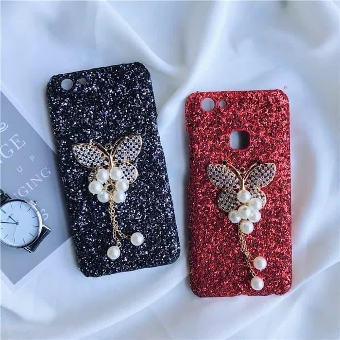 Hardcase Glitter Bling Butterfly Diamond Slim Case Casing HP Oppo A39