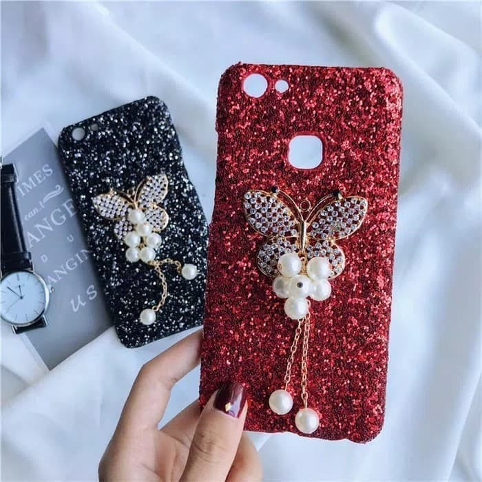 Hardcase Glitter Bling Butterfly Diamond Slim Case Casing HP Oppo A39