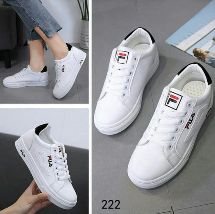 Jual Sepatu Sneakers Fila Terbaru Warna Putih Variasi Hitam Kab