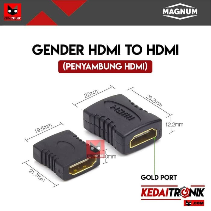 Gender HDMI Female-Female F-F Konektor Penyambung Connector MAGNUM