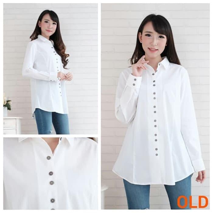 Jual Baju Branded Bom Fash - Kemeja Wanita Putih Polos - Atasan ... 076e24c203