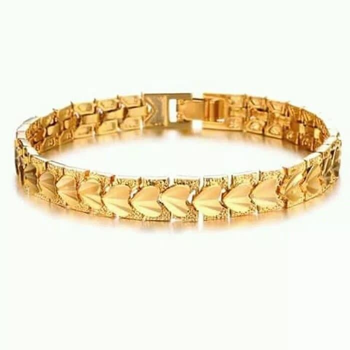 gelang tangan wanita titanium asli lapis emas