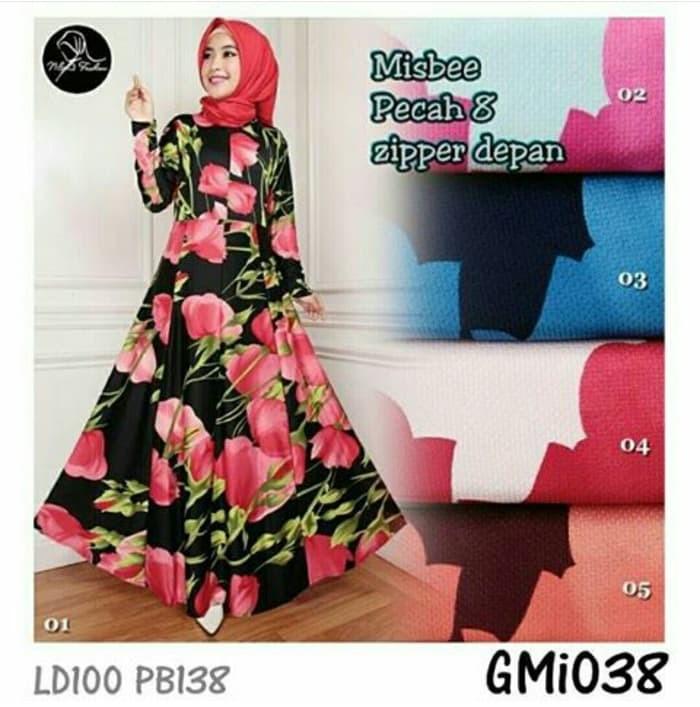 Gamis Dress maxi Flower Gmi038 Misbee Khimar wolfis Murah syarii murah