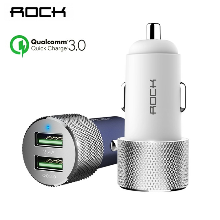 Cesan Hp Impor 127 Rock QC 3.0 Charger Mobil Dual USB Pengisian Cepat