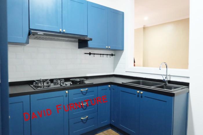 Jual Kitchen Set Ala Classic Warna Biru Meja Granit Hitam Sink