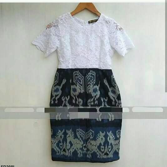 Dress Brokat Kombinasi Tenun Gamis Brokat