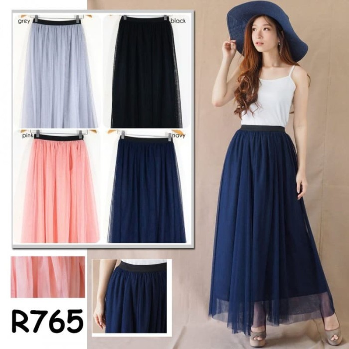r765 bawahan rok panjang maxi tutu tule skirt casual formal